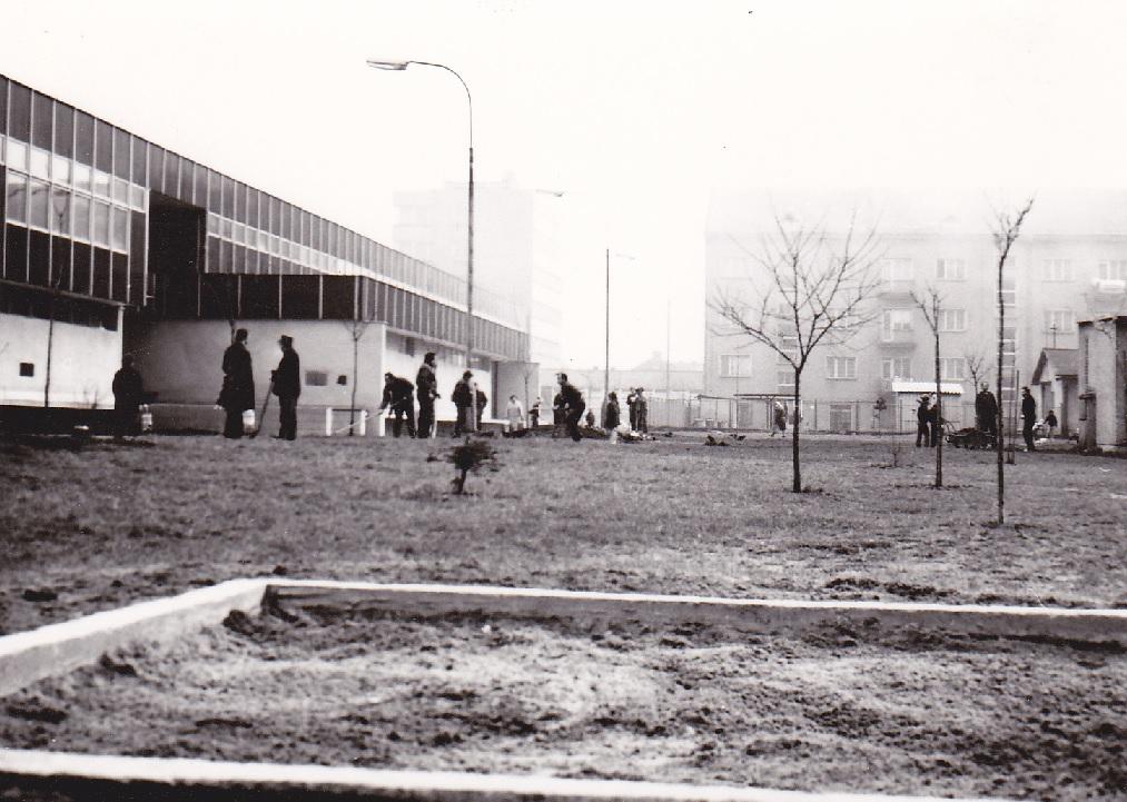 Úprava zelene za tzv. Plecháčom niekedy na prelome 70. a 80. rokov 20. storočia