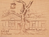Kresba salaša pri Púchove na drevenej pohľadnici