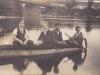 plavba na drevenej lodi pod mostom v Púchove v r. 1936 (Laco Pribiš, Karol Demáček, Berto Kemény a neznámy džentlmen)
