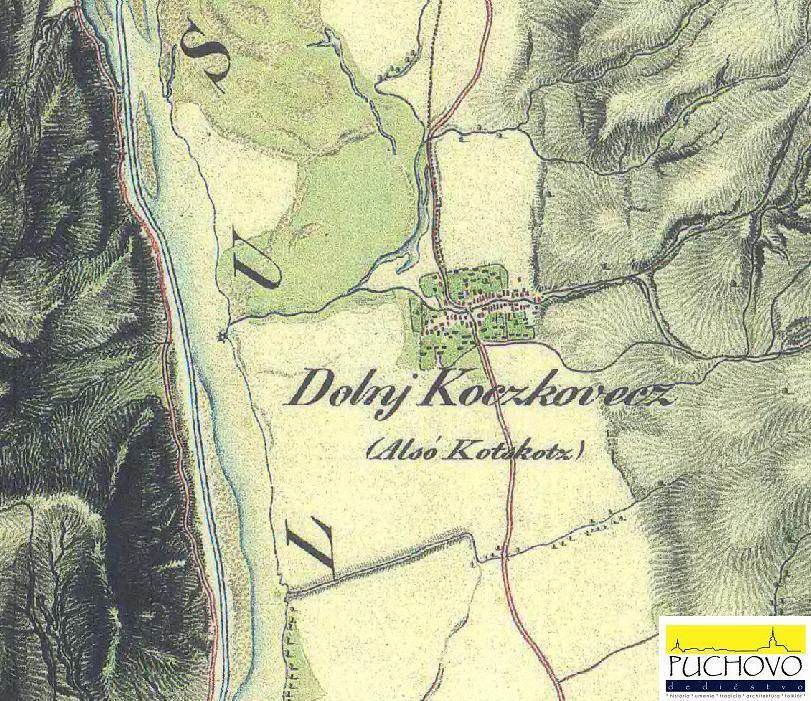 Dolné Kočkovce cca v polovici 19. storočia