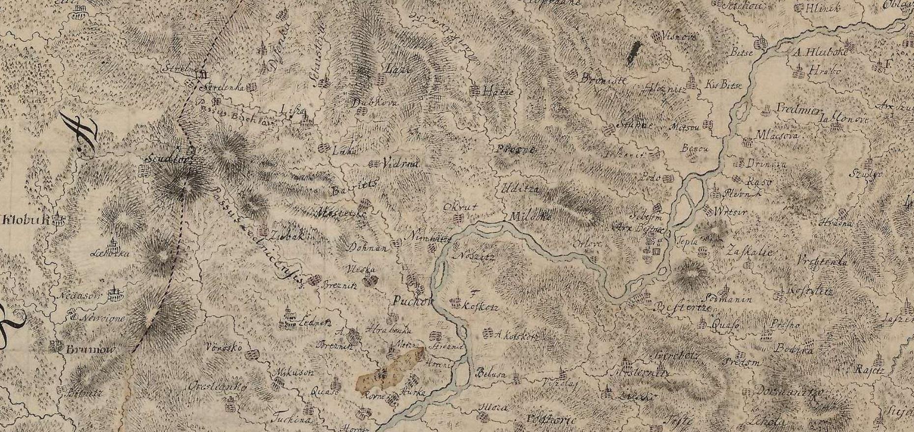 Výsek dnešného púchovského okresu a okolia z mapy Trenčianskej stolice Samuela Mikovínyiho, ktorú vytvoril v roku 1760. Na tvorbe tejto mapy sa podieľal i Ján Turzo z Nosíc