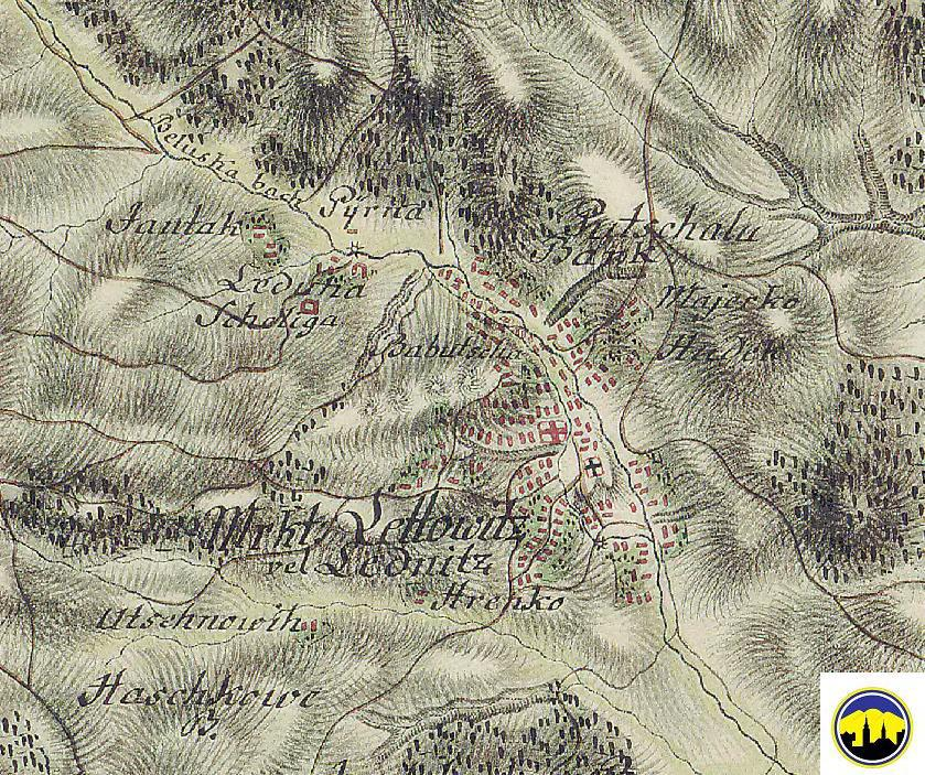Pohľad na mapu obce Lednica v rokoch 1769 - 1785