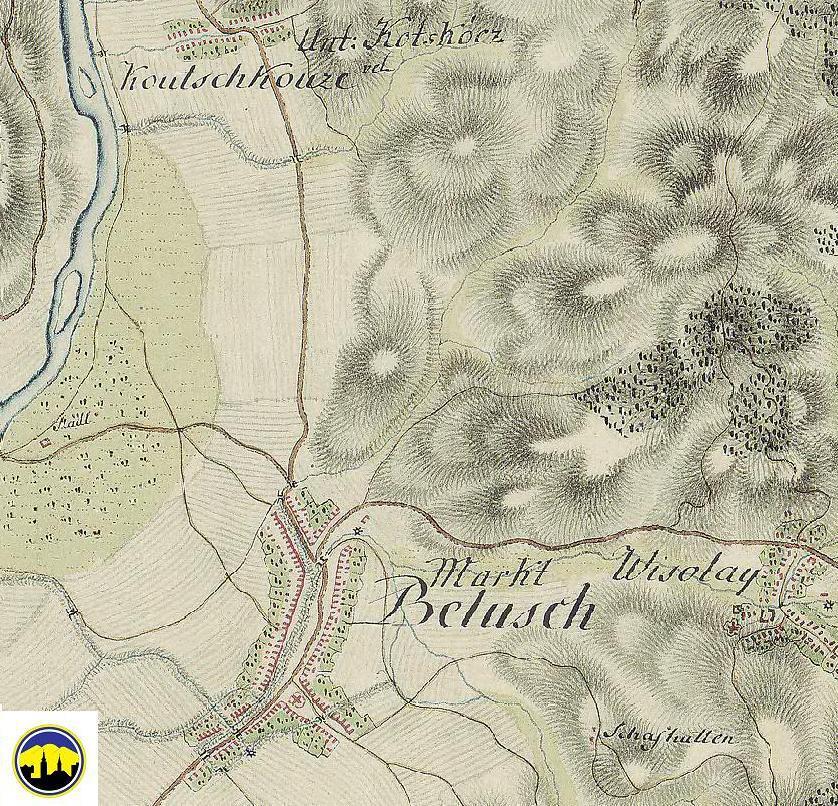 Mapa Dolných Kočkoviec, Beluše a Visolají z druhej polovice 18. storočia