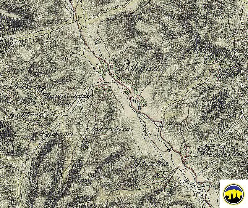 Mapa Dohnian, Viesky, Ihrišťa a okolitých osád z druhej polovice 18. storočia