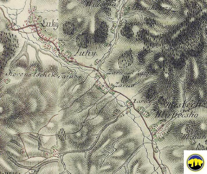 Mapa obcí Lúky p. Makytou, Záriečie a Mestečko z 2. polovice 18. storočia