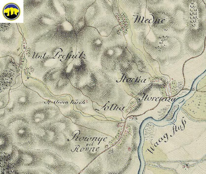 Mapa Lednických Rovní, Medného, Horenickej Hôrky a Dolnej Breznice z obdobia 1769 - 1785