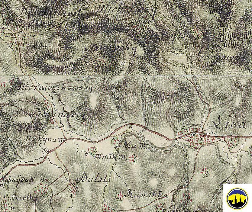 Mapa Lysej pod Makytou a priľahlých osád v druhej polovici 18. storočia