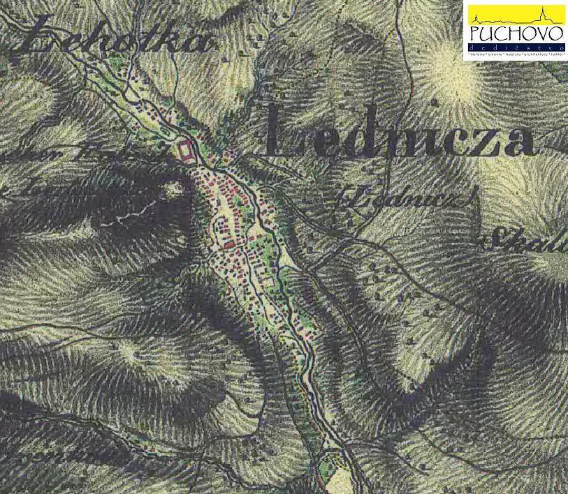 Obec Lednica s priľahlými osadami a hradom v r. 1819 až 1869
