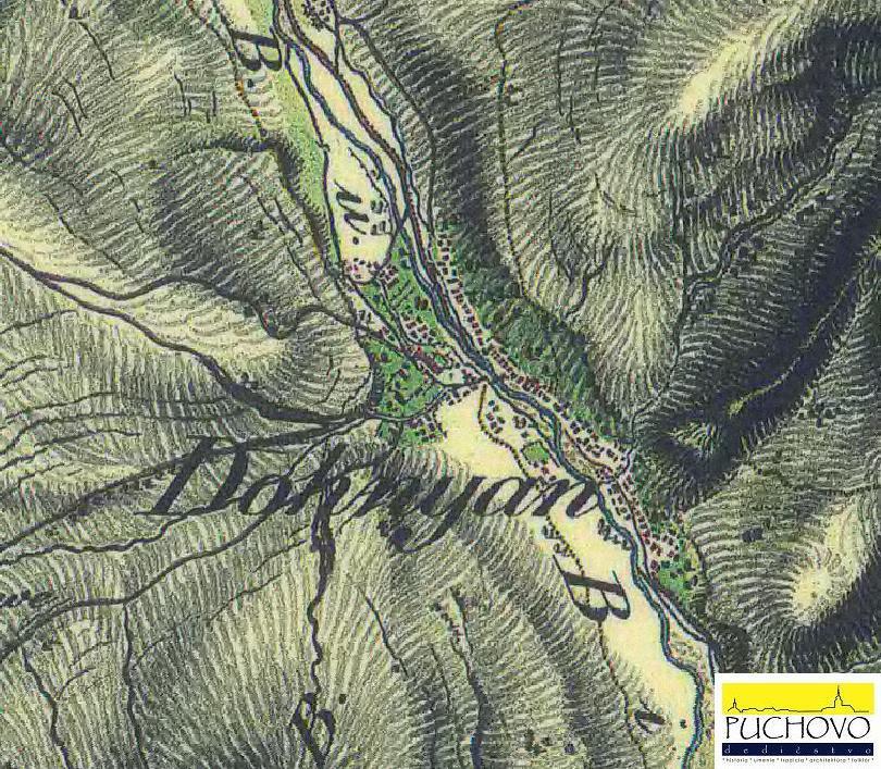 Dohňany na mape v r. 1819 až 1869