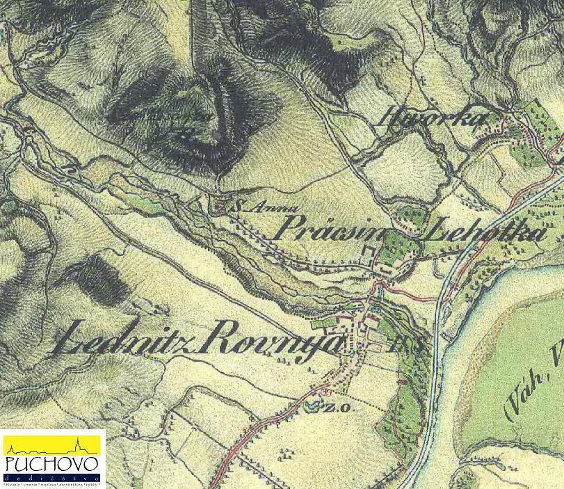 Mapa Lednických Rovní z 2. vojenského mapovania