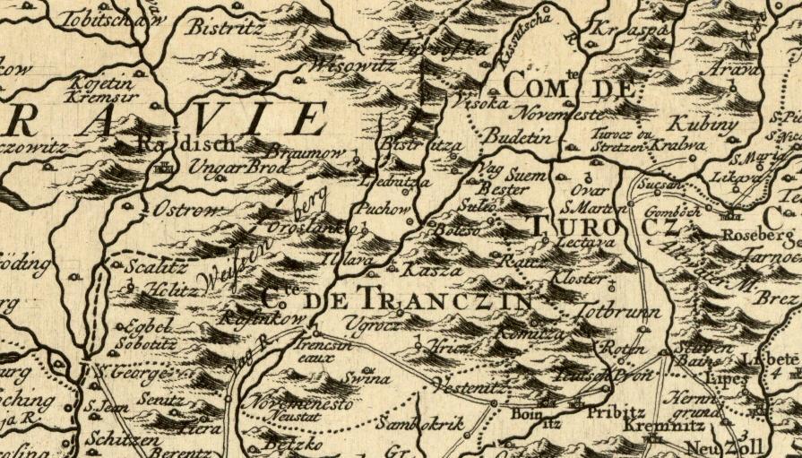 Mapa severozápadného Uhorska od Delislea Guillaumea medzi r. 1675-1726 II.