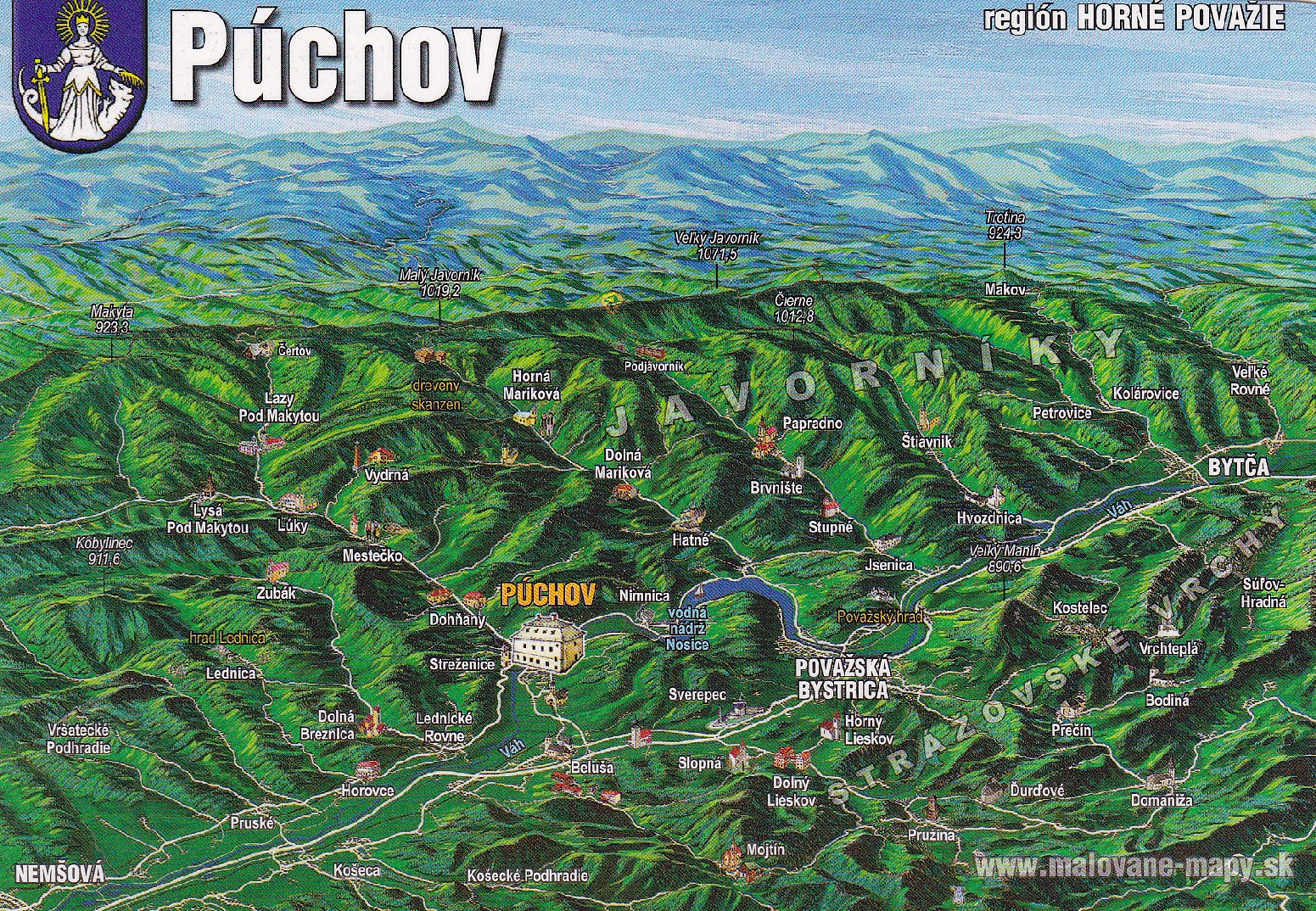 Región tzv. Horného Považia na maľovanej mape