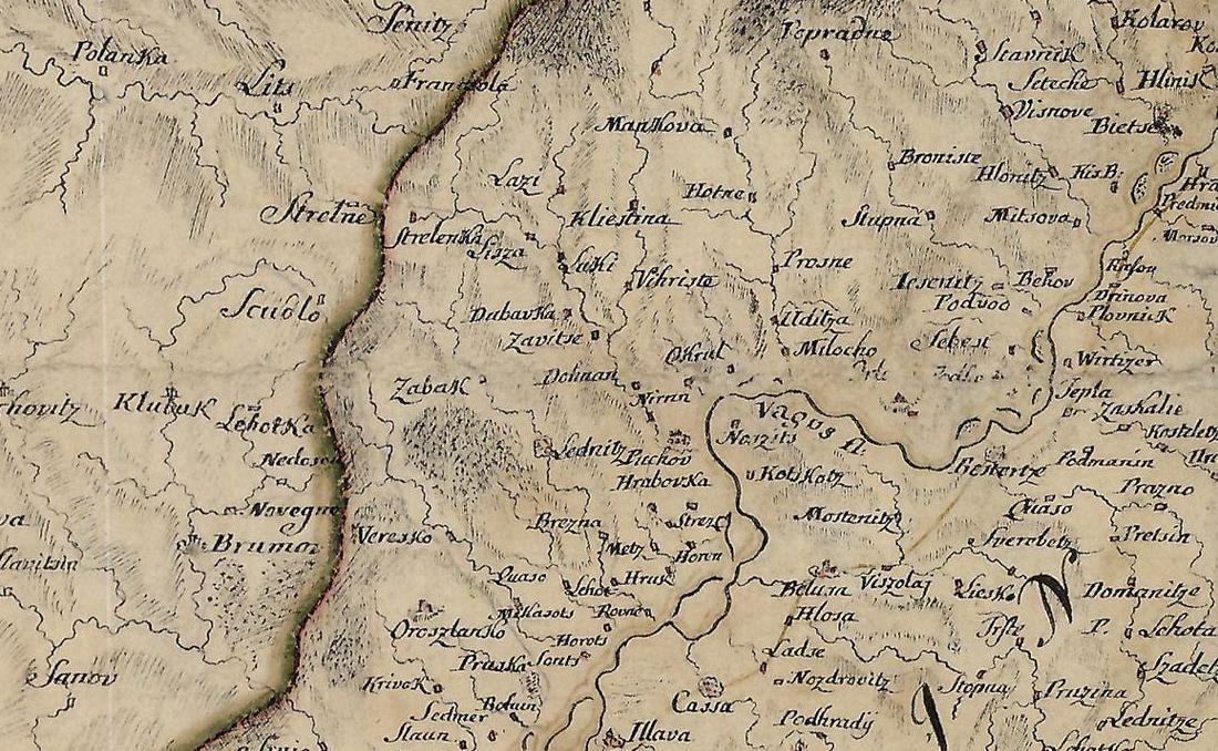 Mapa z r. 1739, na ktorej Samuel Mikovíny zachytil okolie Púchova