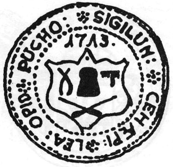 Odlačok pečate cechu klobučníkov v Púchove z r. 1713