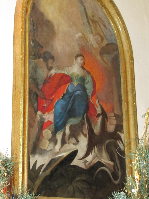 Barokový obraz sv. Margity z 18. storočia v r. k. kostole Všetkých svätých v Púchove
