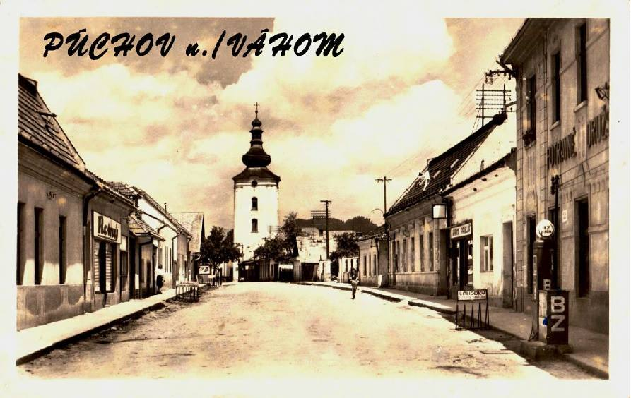 Dnešná Moyzesova ulica (pešia zóna) v Púchove nad Váhom cca na prelome 40. a 50. rokov 20. storočia