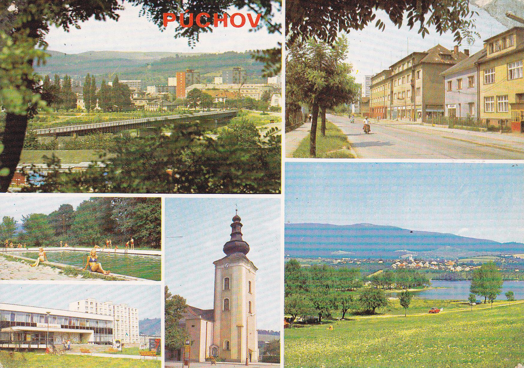 Púchov na pohľadnici v r. 1970: most cez Váh, katolícky kostol, staré kúpalisko, Ul. 1. mája, Dom kultúry