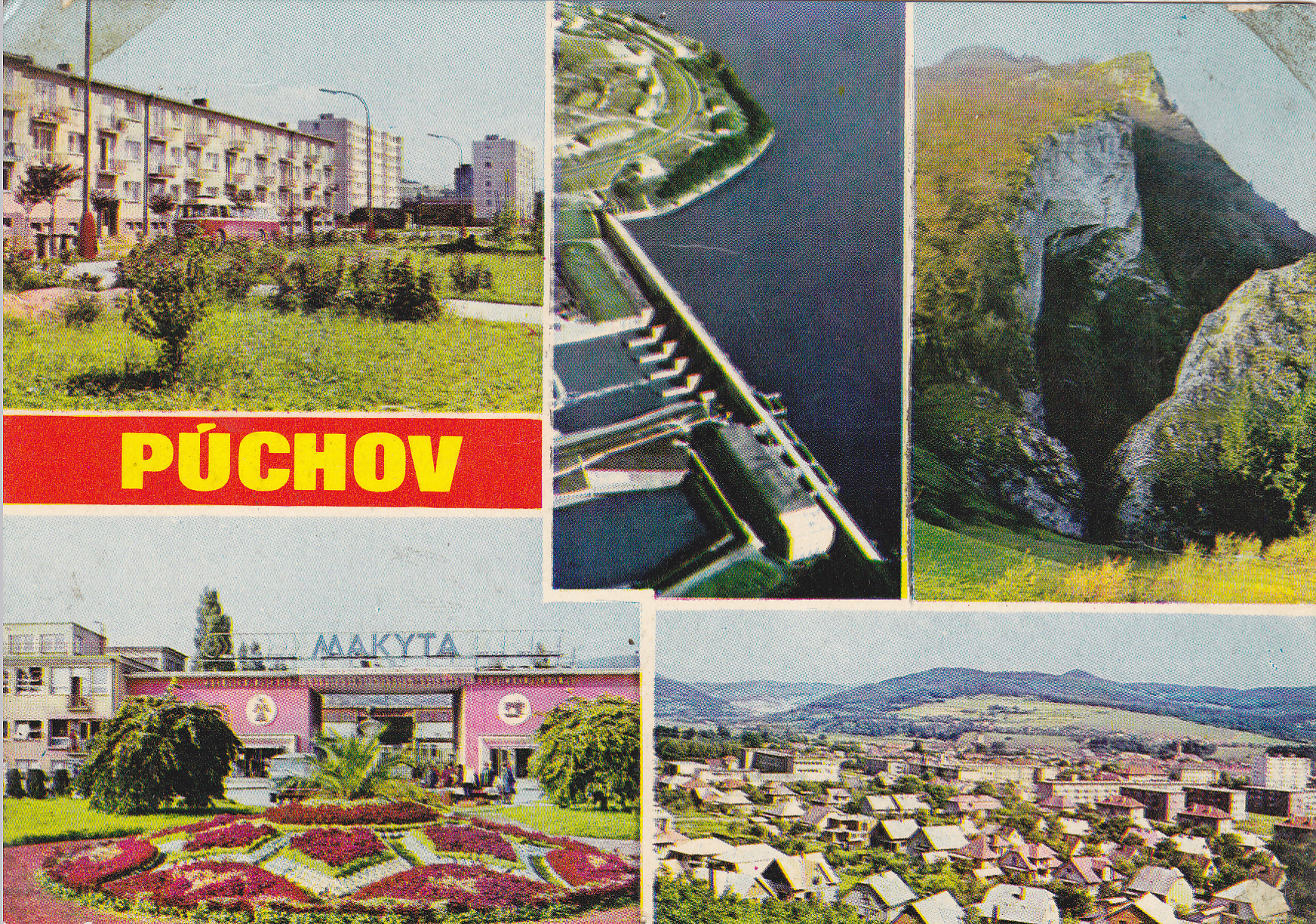 Púchov a okolie na pohľadnici z roku 1972