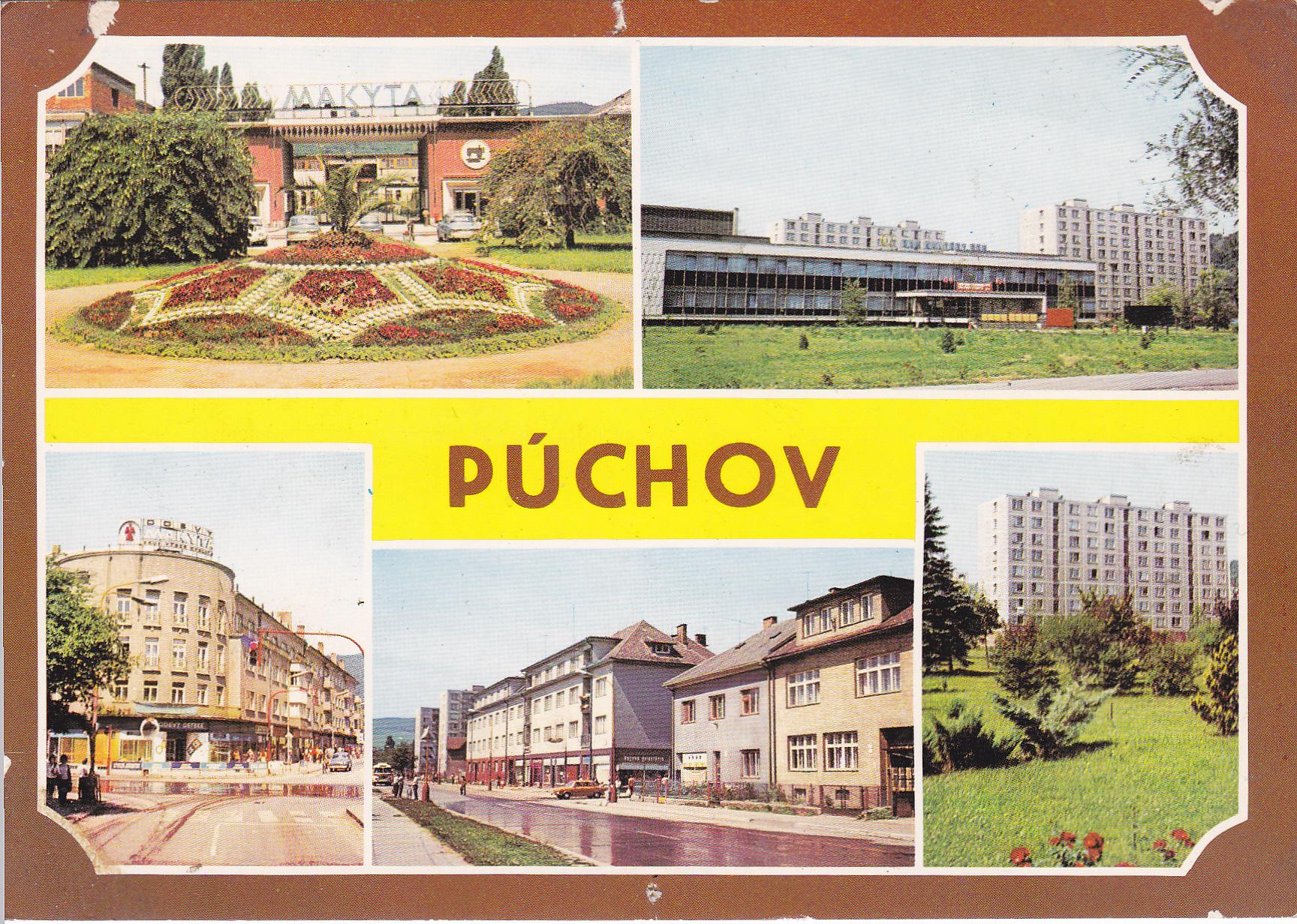 Farebná pohľadnica Púchova z r. 1976: Fučíkov park pred Makytou, starý Dom kultúry,