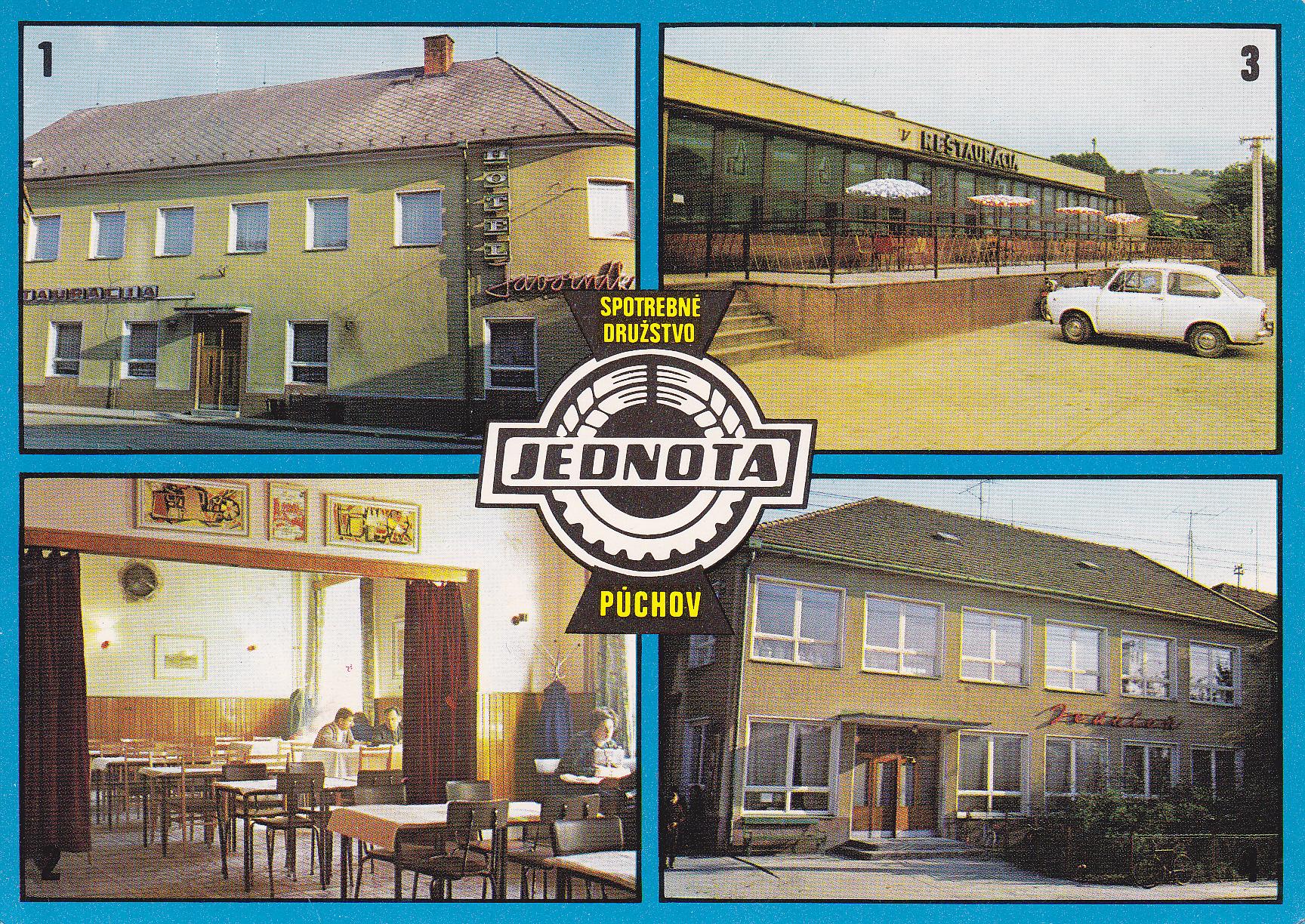 Pohľadnica Jednoty - spotrebného družstva v Púchove z r. 1978