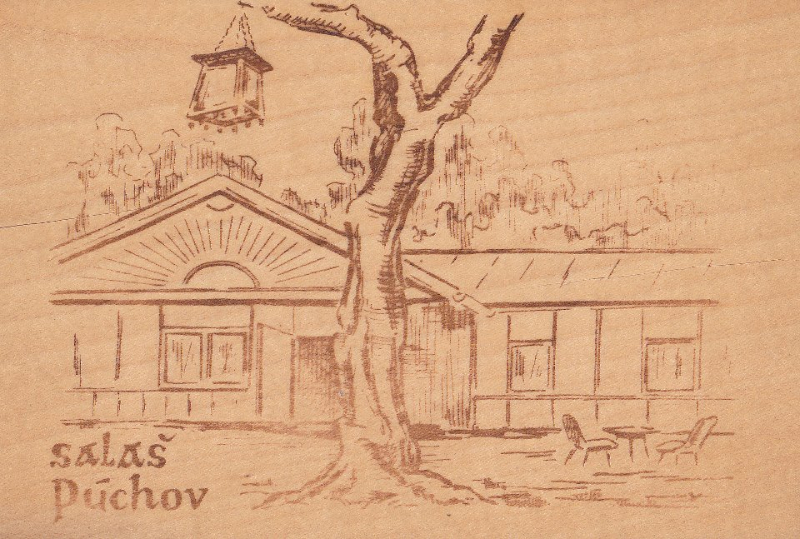Kresba salaša Máj pri Púchove na drevenej pohľadnici