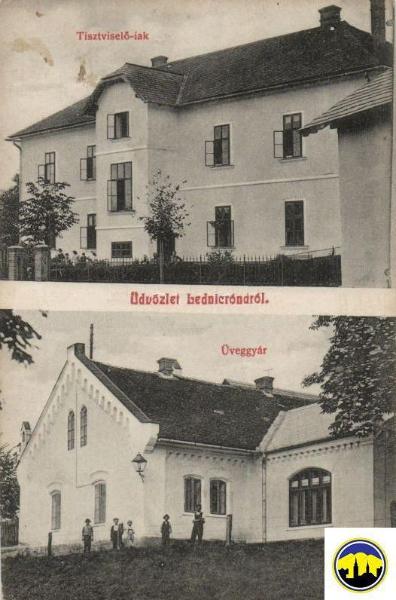 Pohľadnica z Lenických Rovní z prelomu storočí (hore Obecný úrad, dole budova sklárni)