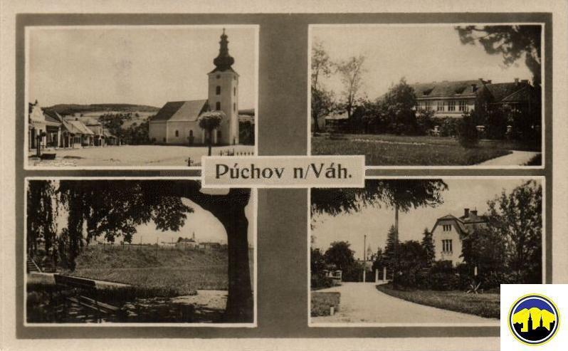 Pohľadnica Púchova z 1. ČSR (kostol, park, vila Velitsovcov...)