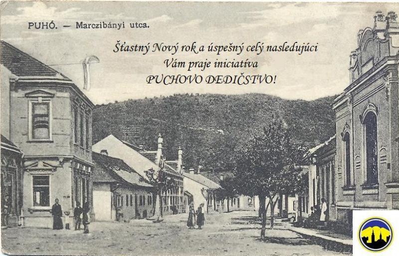 Pohľadnica Púchova z prelomu storočí - Námestie slobody dnes, vtedy Marczibányiovská ulica