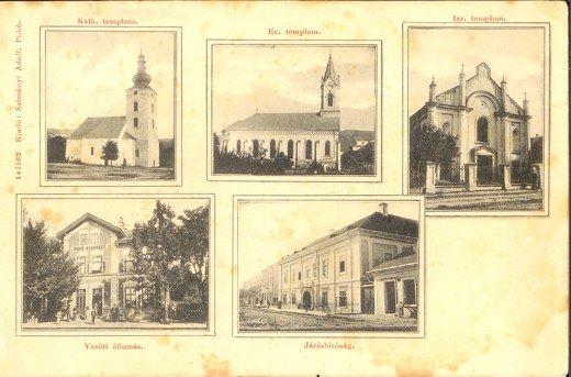 Pohľadnica Púchova z čias Uhorska na začiatku 20. storočia - chrámy, želez. stanica a Marczibániovský kaštieľ