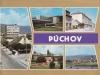 Farebná pohľadnica Púchova z r. 1976: Fučíkov park pred Makytou, starý Dom kultúry, Štefánikova ul., Ul. 1. mája a Nábrežie slobody