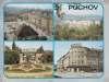 Pohľadnica Púchova z r. 1978 - križovatka s parkoviskom na Rožáku, sídlisko Sedlište z Lachovca, Fučíkov park pred Makytou a Rožák