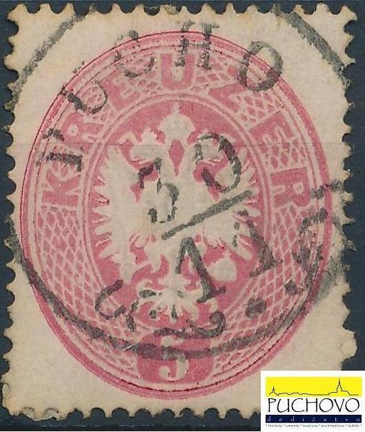Rakúska známka z čias monarchie s odtlačkom razítka pošty Púchove