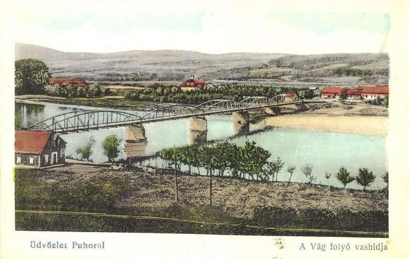 Kolorovaná pohľadnica Púchova z konca veľkej vojny (1918), ktorá bola poslaná do Bratislavy (Pozsony).