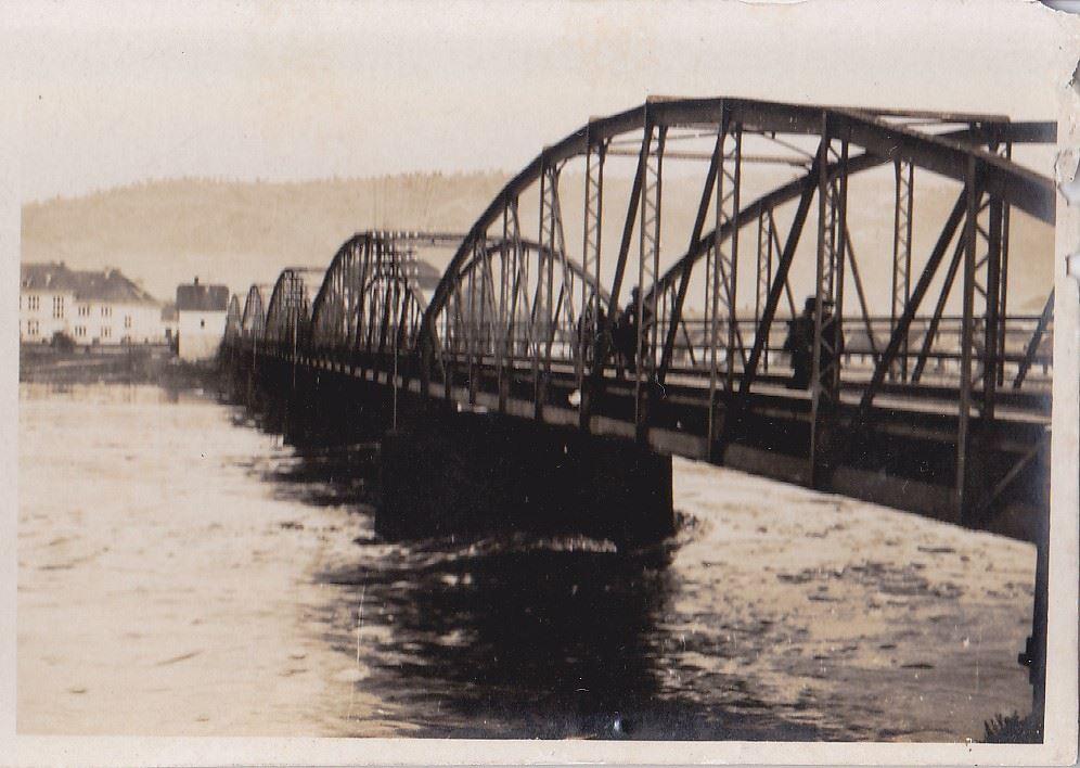 Pohľad na starý železný most v Púchove nad Váhom v 30. rokoch minulého storočia s malou priľahlou budovou mýtnej stanice a budovou dnešného Gymnázia....