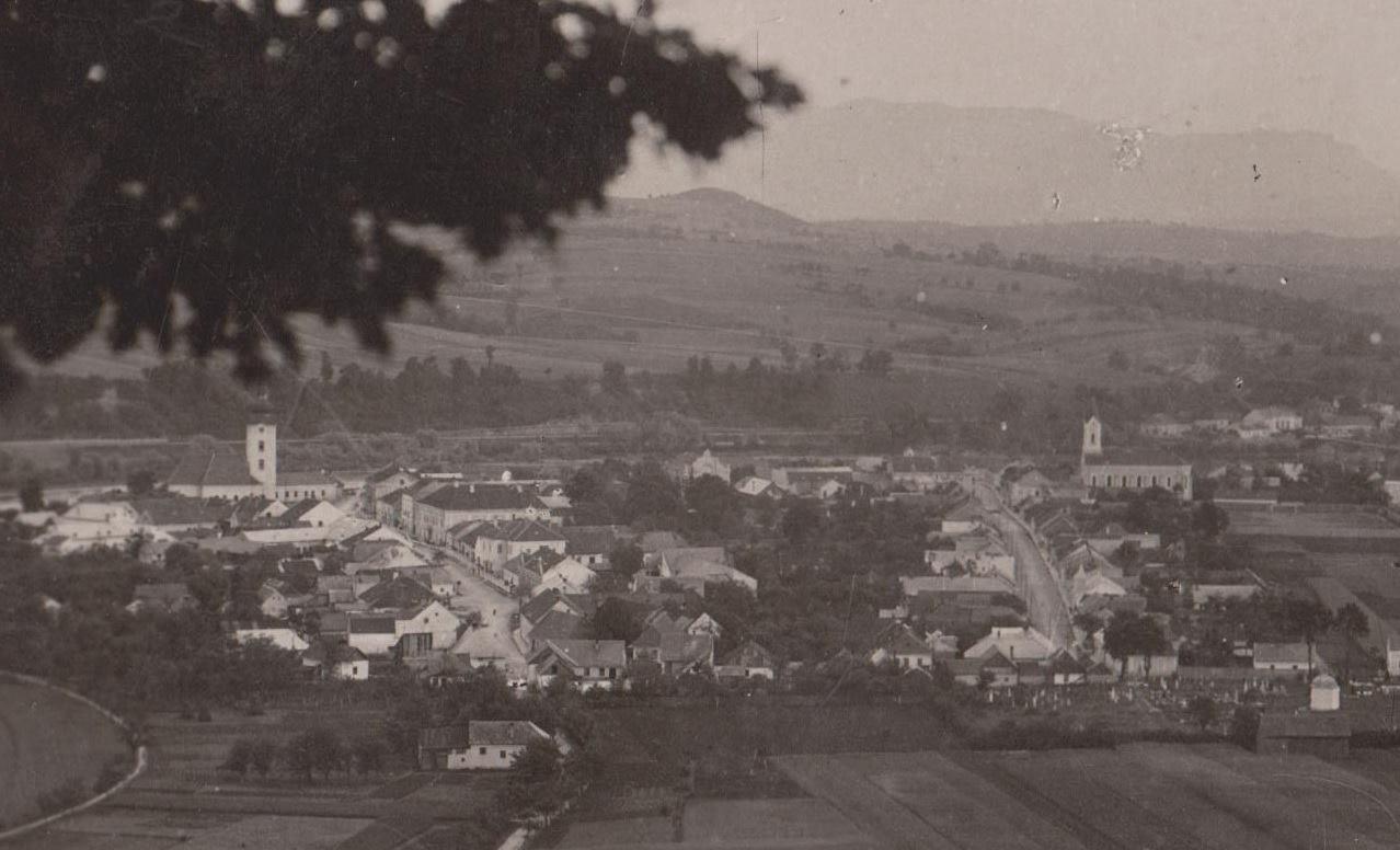 Časť pohľadnice zachytila z Lachovca v roku 1934 dnes už neexistujúce historické jadro mesta Púchov (vľavo Námestie slobody a vpravo Moravská ulica). Z budov na obrázku zostali len kostoly, budova starej evanjelickej fary a hrobka na starom mestskom cintoríne. Za pohľadnicu ďakujeme pánovi Silvestrovi Mikulovi!