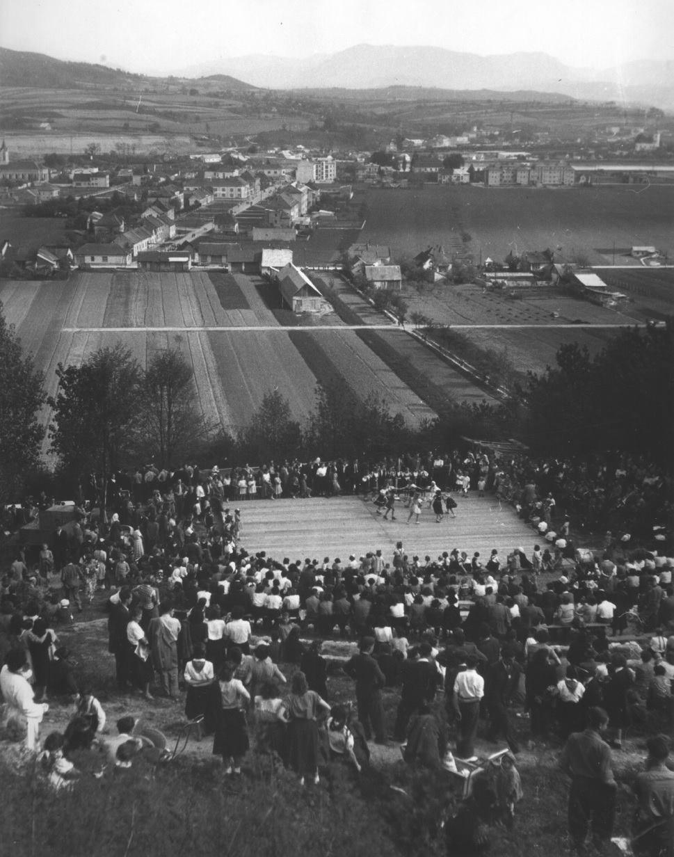 Fotografia z 50. rokov minulého storočia, kedy bolo z amfiteátra na Ilonke (Kocke) vidieť rozrastajúce sa mesto Púchov.