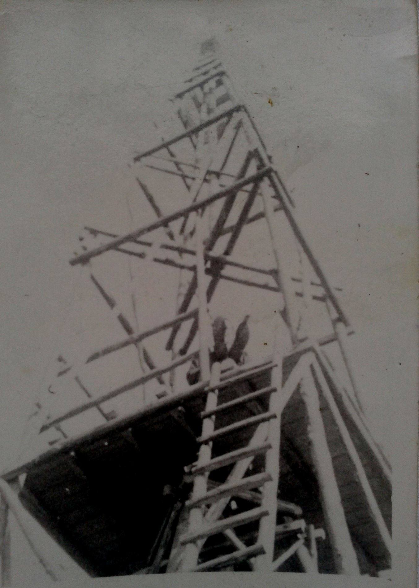 Rozhľadňa pri vápennej skale (Vápenke) na Lachovci, ktorá tu stála ešte na konci 60. rokov minulého storočia
