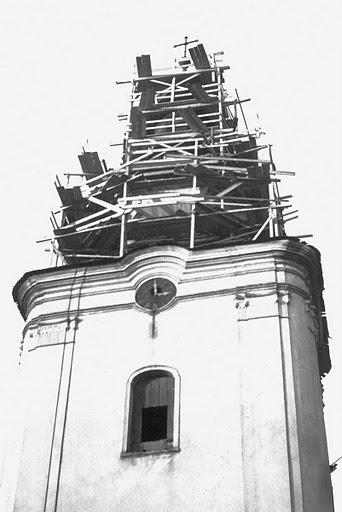 Oprava veže v septembri 1953