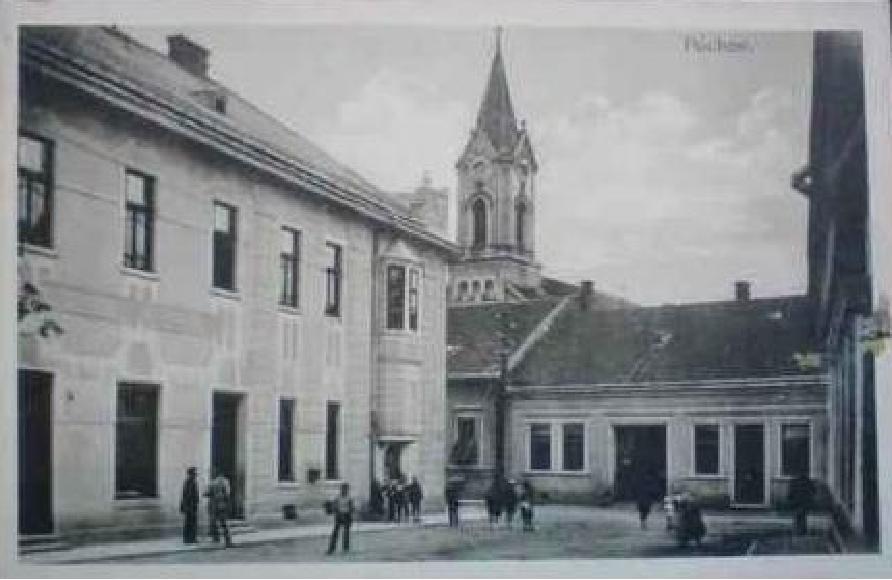 Potravný spolok (neskôr hotel Javorník) na rohu Moravskej a Moyzesovej ulice v Púchove (1. ČSR)