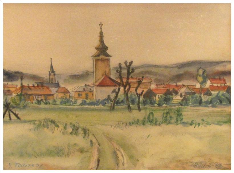 Akvarel zobrazujúci Púchov v r. 1937 od Jozefa Fedoru