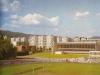 Športový areál - mestská plaváreň a futbalový štadión v Púchove, tzv. Dom služieb vo výstavbe na začiatku 80. rokov