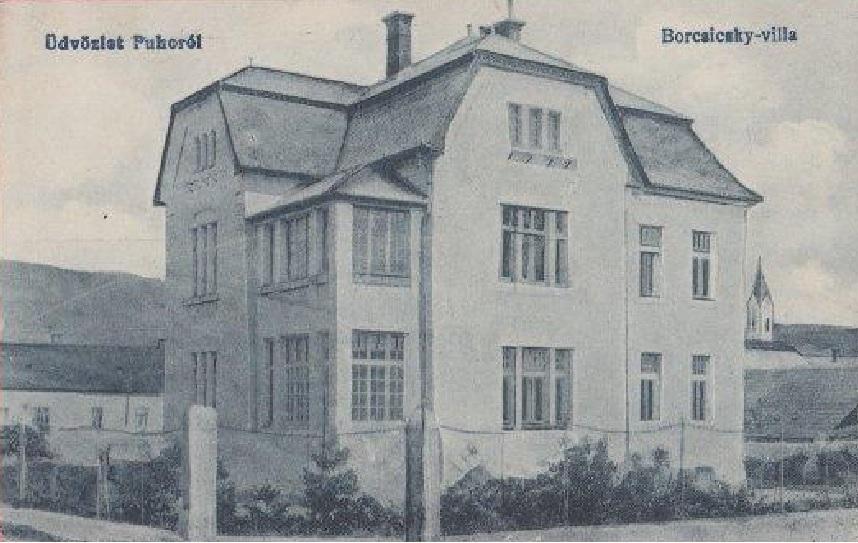 Vila Borčických - dnes Velitsovcov v Púchove, na pohľadnici z čias monarchie - cca začiatok 20. storočia
