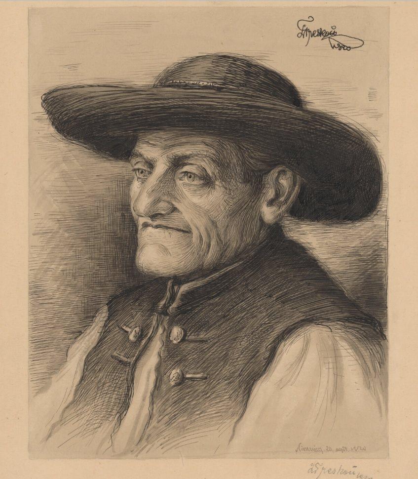 """Pomocou pera takto namaľoval """"Hlavu starca z Nimnice"""" 20. septembra 1920 veľmi nádejný slovenský maliar Ladislav Treskoň z Petrovíc."""