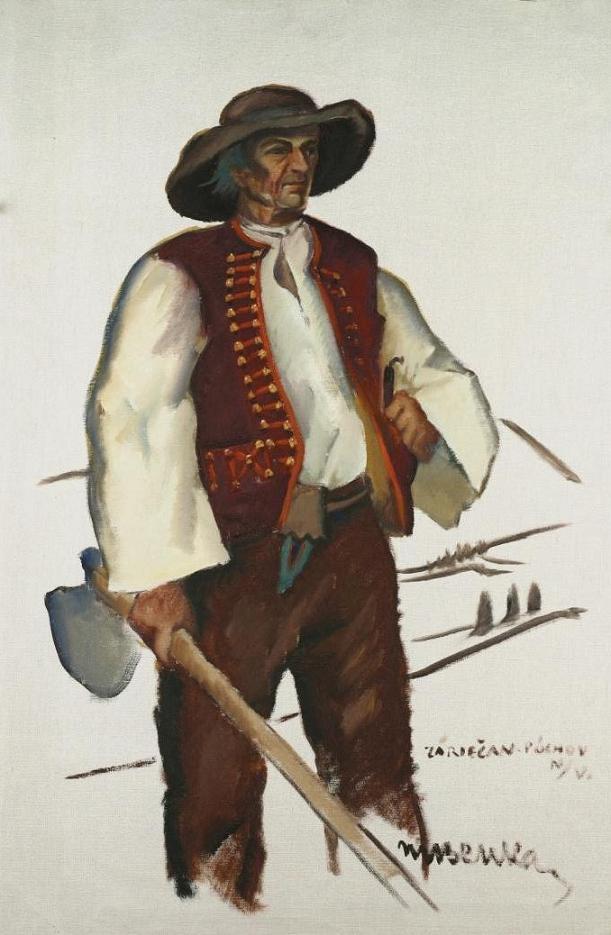 Mužský kroj zo Záriečia na plátne M. Benka (http://ecav.zariecie.sk/images/stories/documents/historia_clanky/martinbenka.pdf - na študijné účely)