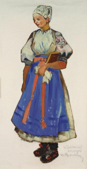 Sviatočný odev mladej ženy zo Záriečia od M. Benku (http://ecav.zariecie.sk/images/stories/documents/historia_clanky/martinbenka.pdf - na študijné účely)