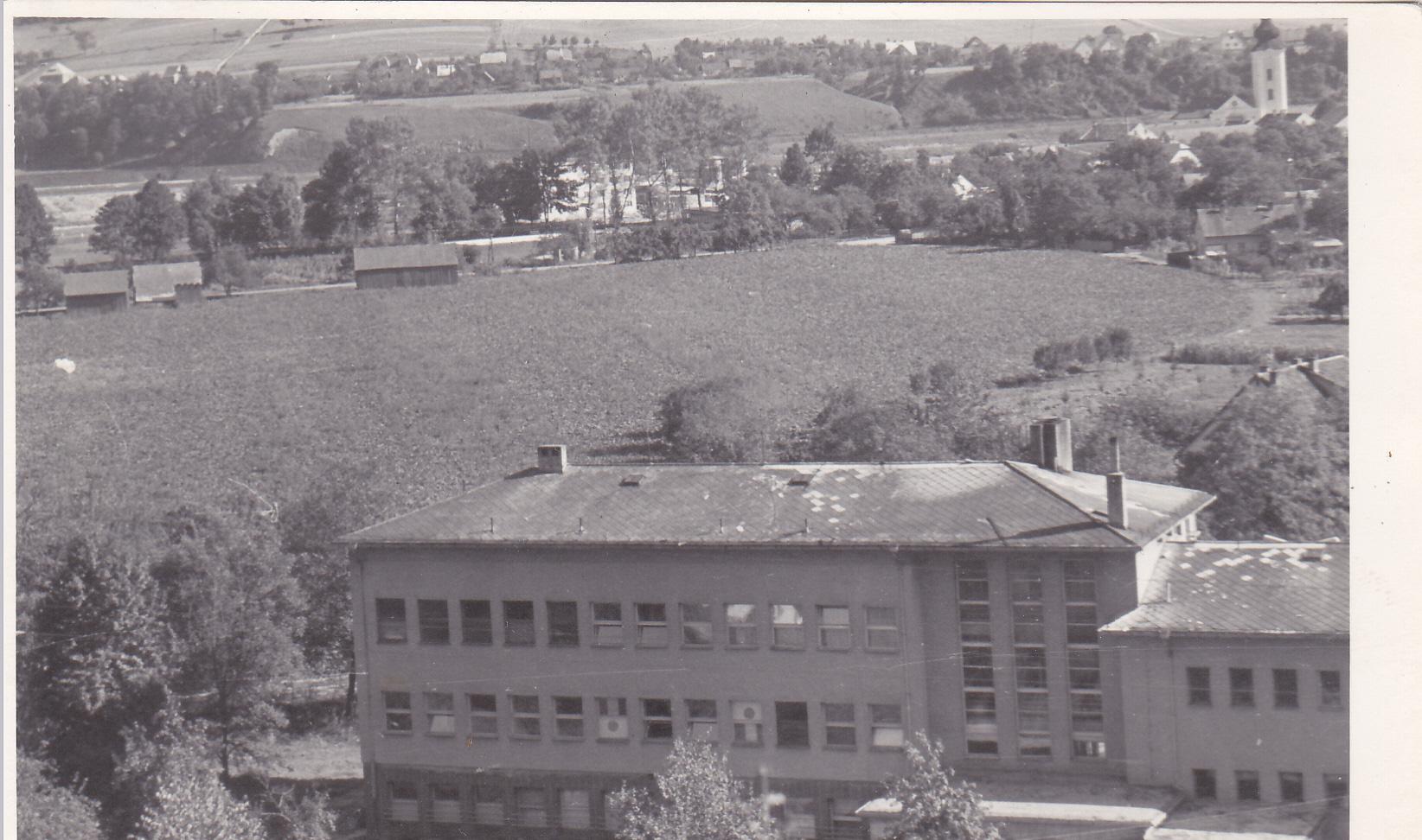 Fotografia lúky na mieste dnešného panelového sídliska Sedlište v r. 1965 (na zábere aj tzv. infekčné z cesty k Ilonke)