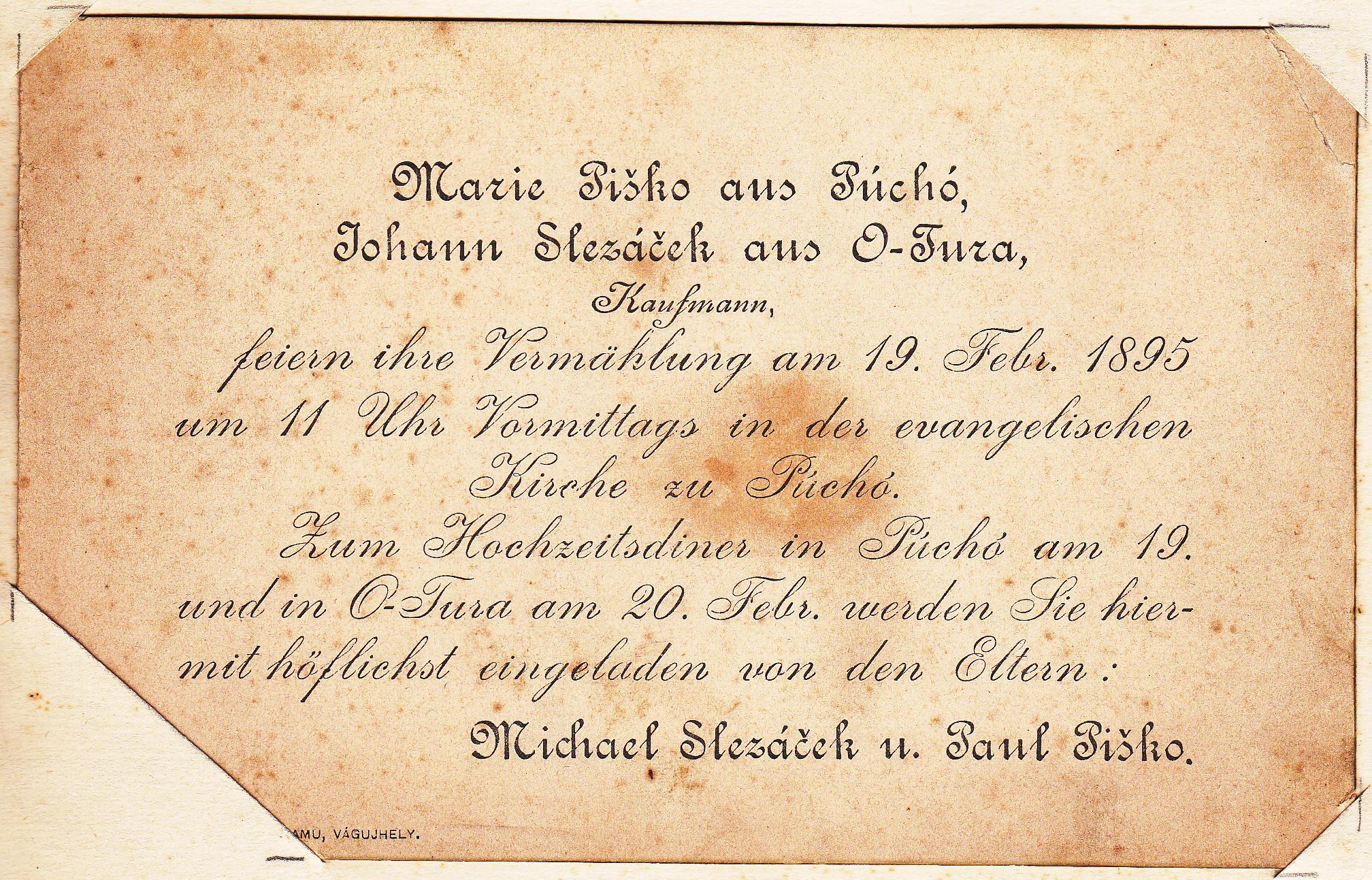 Svadobné oznámenie Márie Piškovej z Púchova a Janka Slezáčka zo Starej Turej z r. 1895 v nemčine