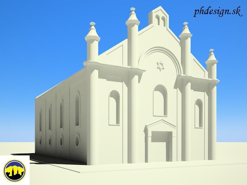 3D model zaniknutej synagógy v Púchove na fotografii