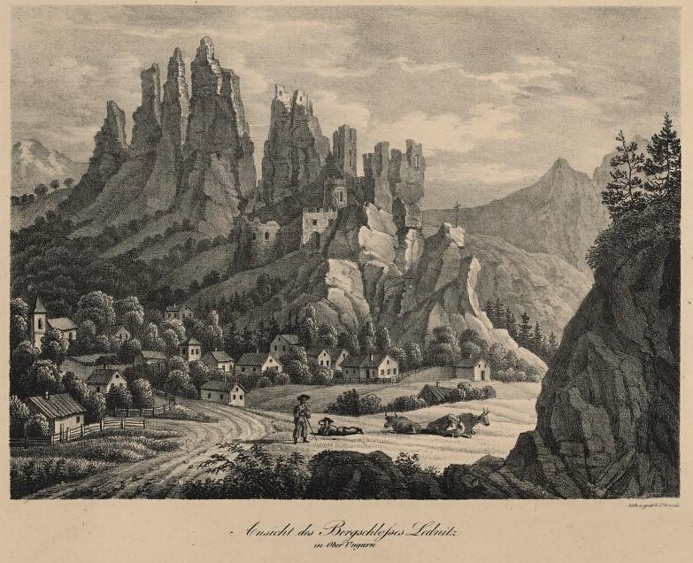 Romantický pohľad na hrad Lednica s rovnomennou obcou zo začiatku 19. storočia (cca 1830).