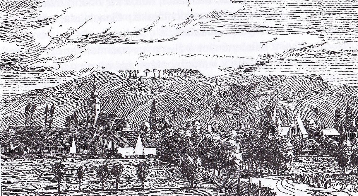 """Beluša """"pred príchodom fotografie"""" v roku 1871 - pohľad smerom na západ..."""